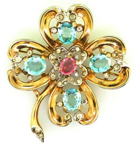 Vtg Philippe Trifari Four Leaf Clover Figural Aqua Pink Rhinestone Brooch Pin | eBay
