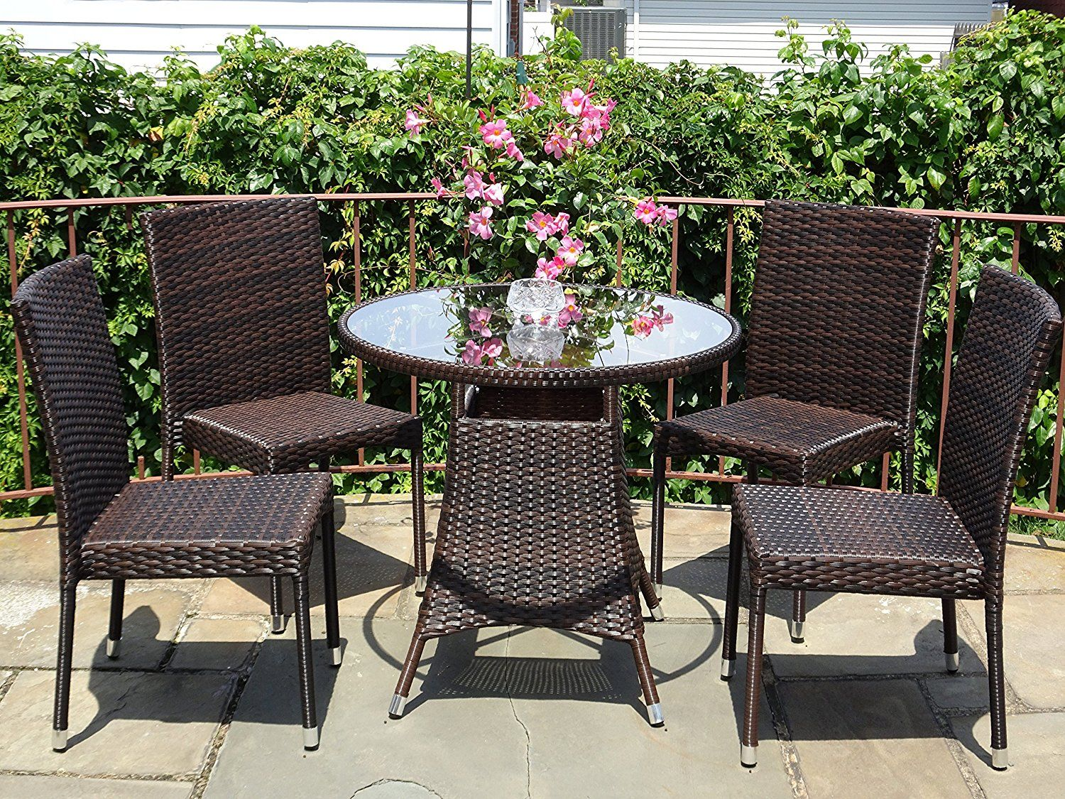 Furnitures 5 Pc Patio Resin Outdoor Wicker Dining Set Round