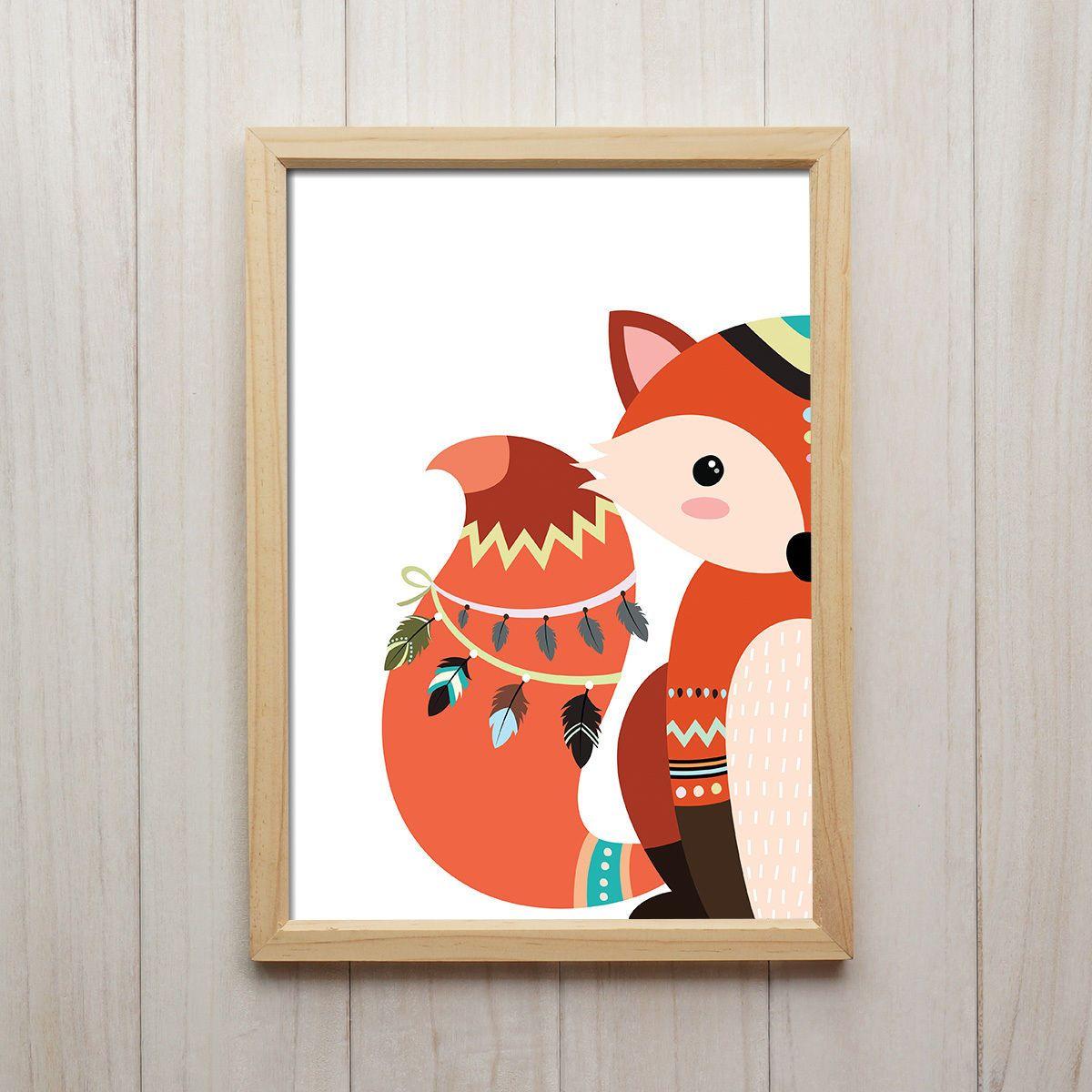 Details zu Kinderbilder Set Tribal Fuchs Indianer Pfeile
