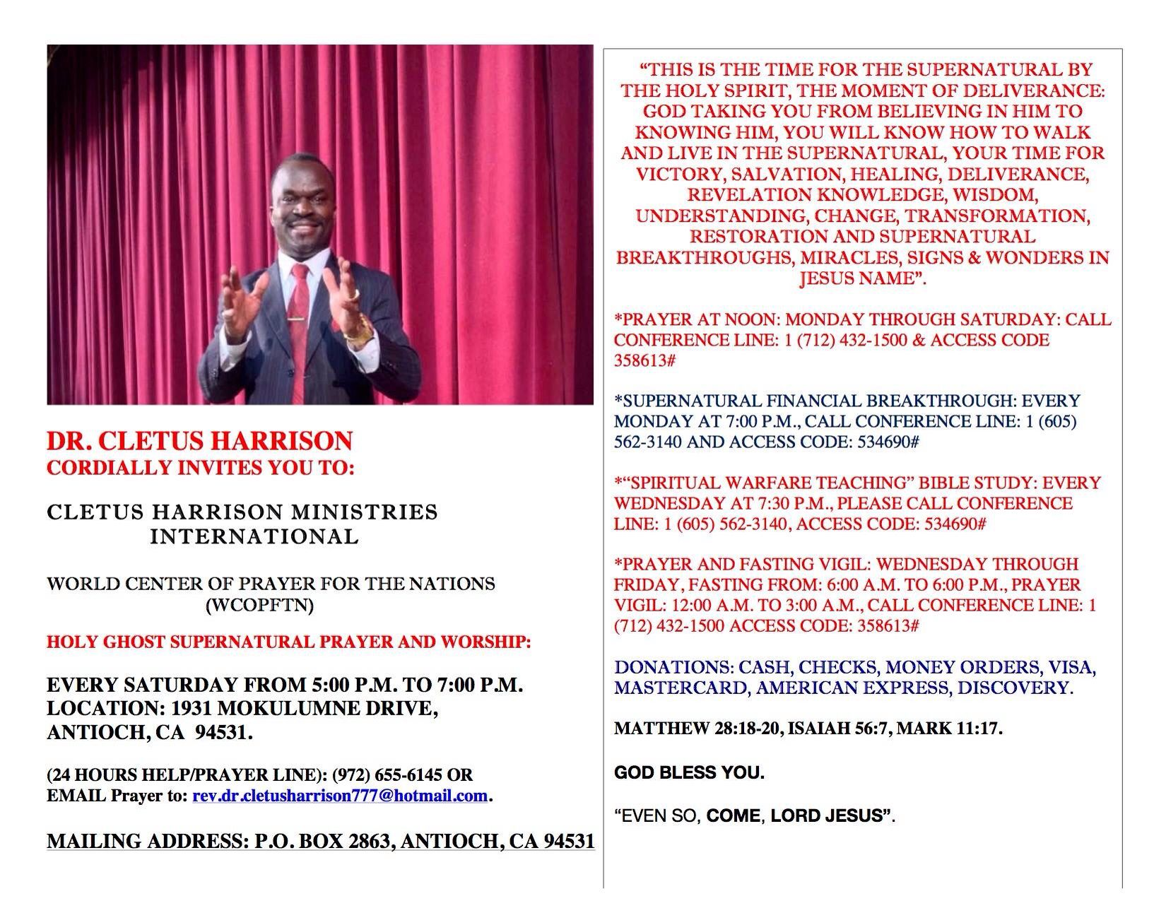 DR  CLETUS HARRISON CORDIALLY INVITES YOU TO: CLETUS