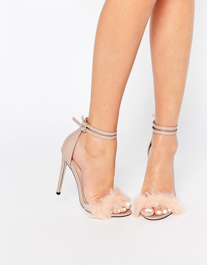 c967a27c31 Little Mistress Monroe Faux Fur Ankle Strap Heeled Sandals | ASOS perfect  for the boudoir robe