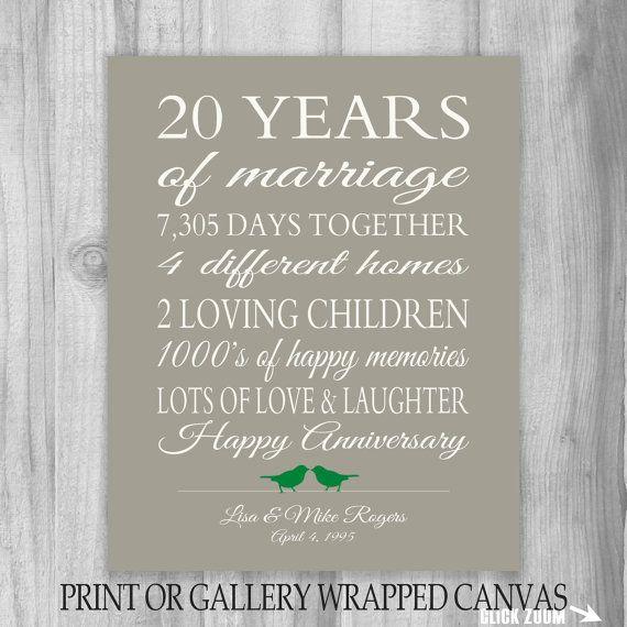 20 Year Anniversary Gift 20th Anniversary Art by PrintsbyChristine  sc 1 st  Pinterest & 20 Year Anniversary Gift 20th Anniversary Art Print Personalized ...