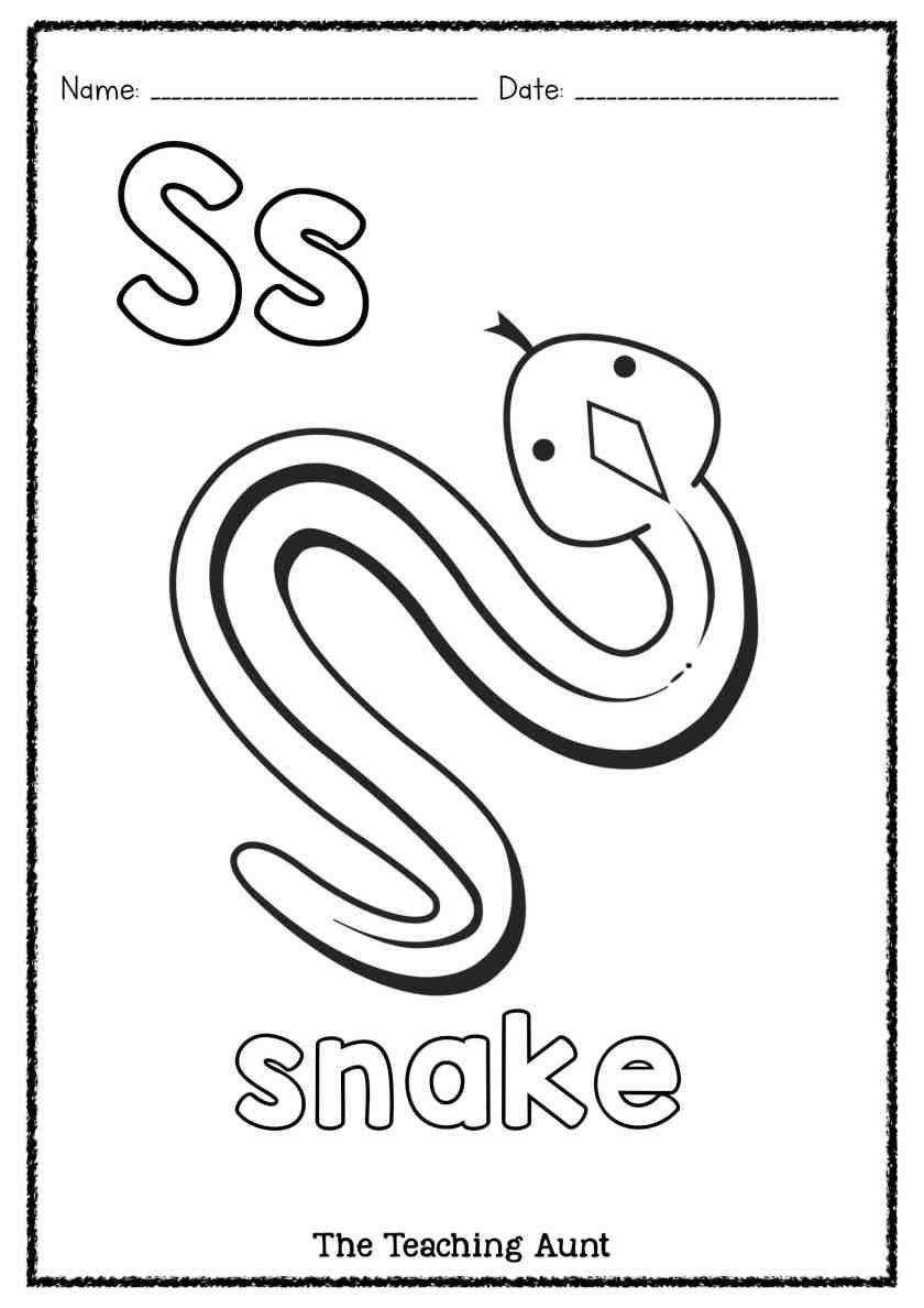S Is For Snake Art And Craft The Teaching Aunt Preschool Coloring Pages Alphabet Letter Activities Alphabet Coloring Pages [ 1188 x 840 Pixel ]