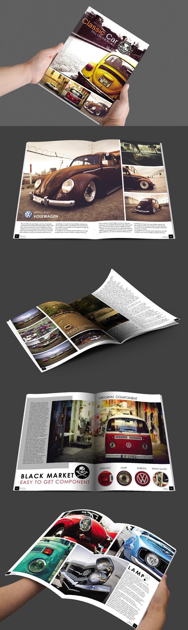 #magazine #design from BoriesBechker   DOWNLOAD: https://creativemarket.com/boriesbechker/289069-OldSchool-Car-Magazine?u=zsoltczigler