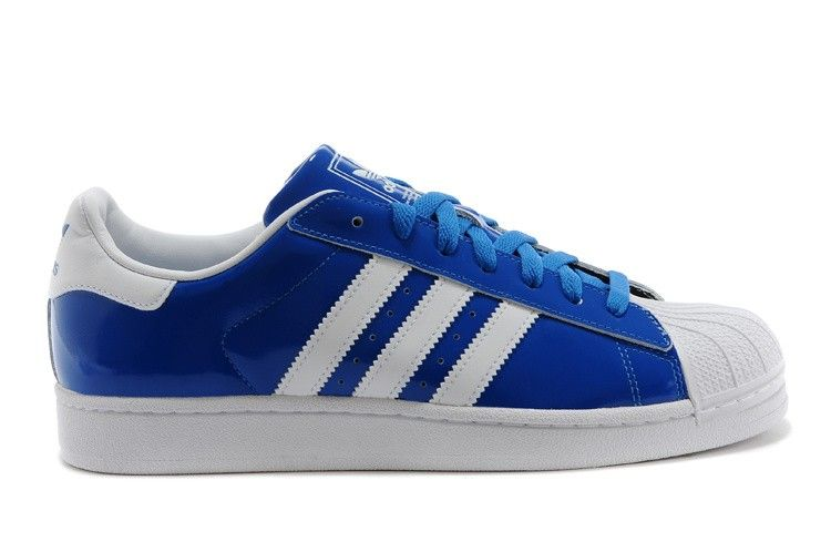 adidas Superstar II Mens Patent Leather Originals Sneakers D65603 BlueWhite