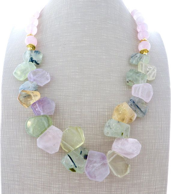 Photo of Multi gemstone necklace, amethyst and citrine necklace, chunky necklace, green prehnite and rose quartz necklace, natural stone jewelry