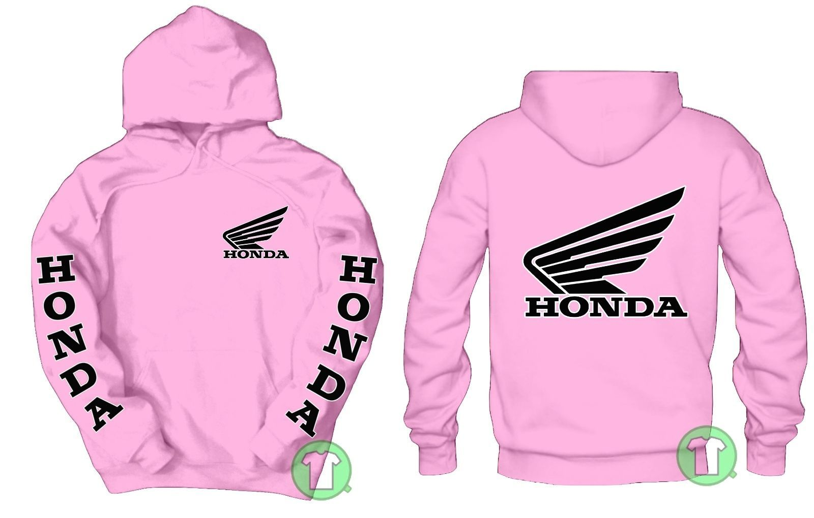 Honda Logo Front & Back Pink Pullover Hoodie Buy Any 2 Get A
