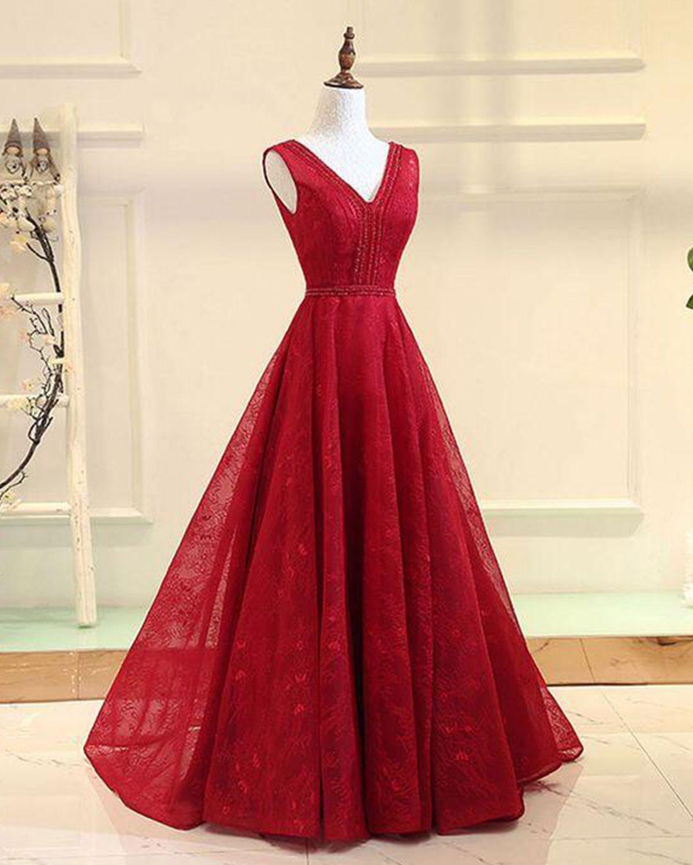 913c5b56b5 Elegant wine red lace V neck floor length halter prom dress