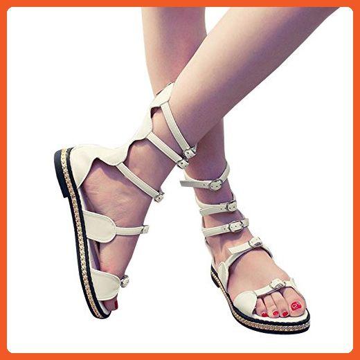 Women Beach Gladiator Sandal Hollow Bandage Metal Flat Roman Sandals