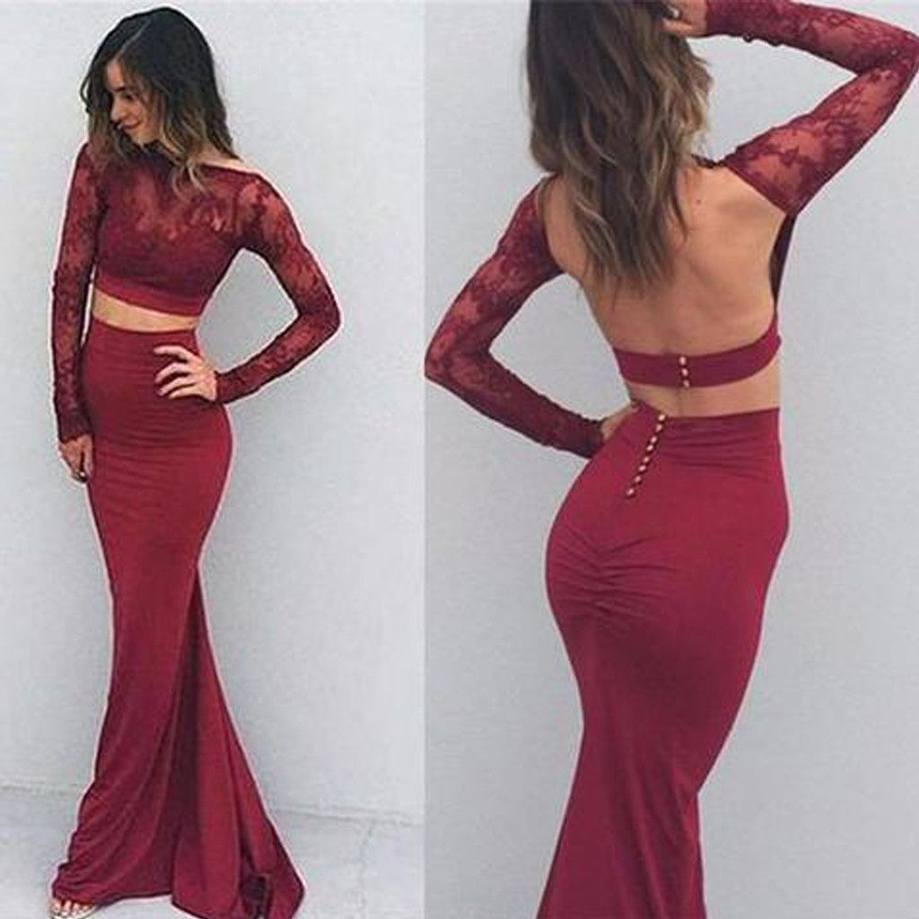 Two pieces long sleeve maroon lace backless jersey long prom dresses