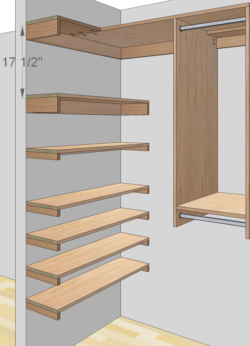 Free woodworking plans to build a custom closet organizer for wide reach in closets description for Wardrobe cabinet design woodworking plans