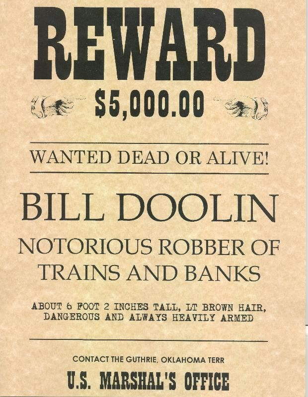 Bill Doolin wanted poster | Wild West | Pinterest | Wild west ...