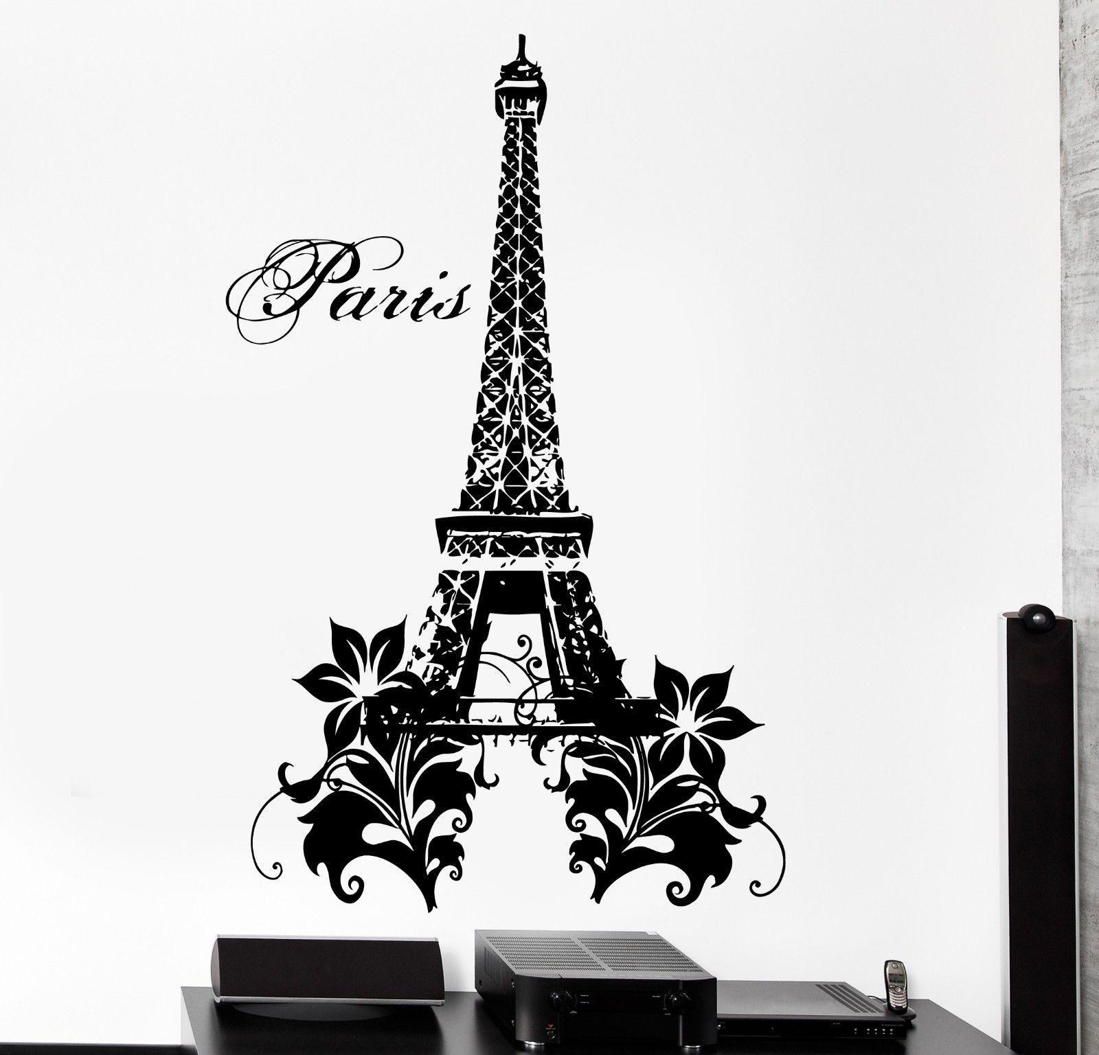 Decoration De Chambre Theme Paris wall decal paris france eiffel tower flower love vinyl decal