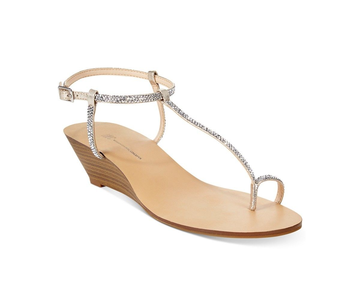 INC International Concepts Women's Mystik Wedge Sandals | A little sparkle and a little heel means a stylish, beautiful sandal that's also really comfortable. via @stylelist