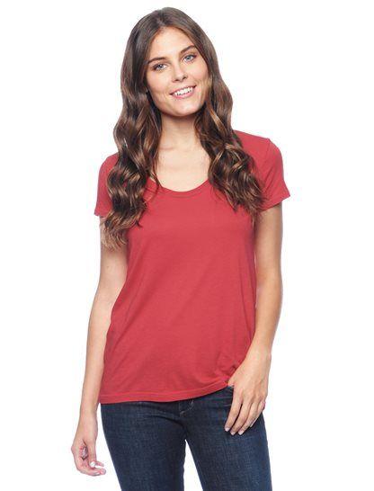 Splendid Official Store, Light Jersey Short Sleeve Scoop Tee, currant, Womens : Tops : Short Sleeve, STMJ7358