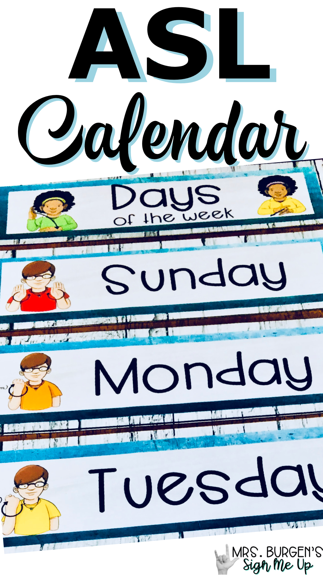 Sign Language Farmhouse Classroom Decor Calendar Turquoise