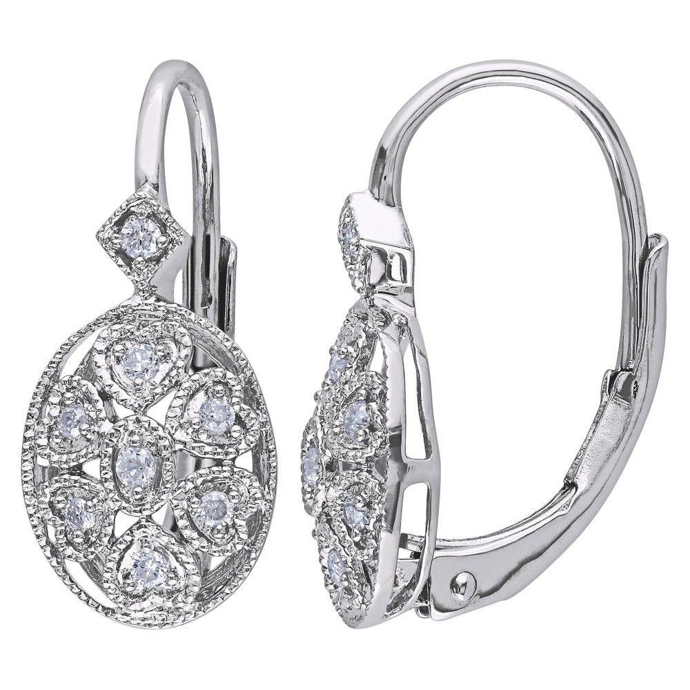 Allura 1/8 CT. T.W. Diamond Silver Earrings - Silver, Women's, White