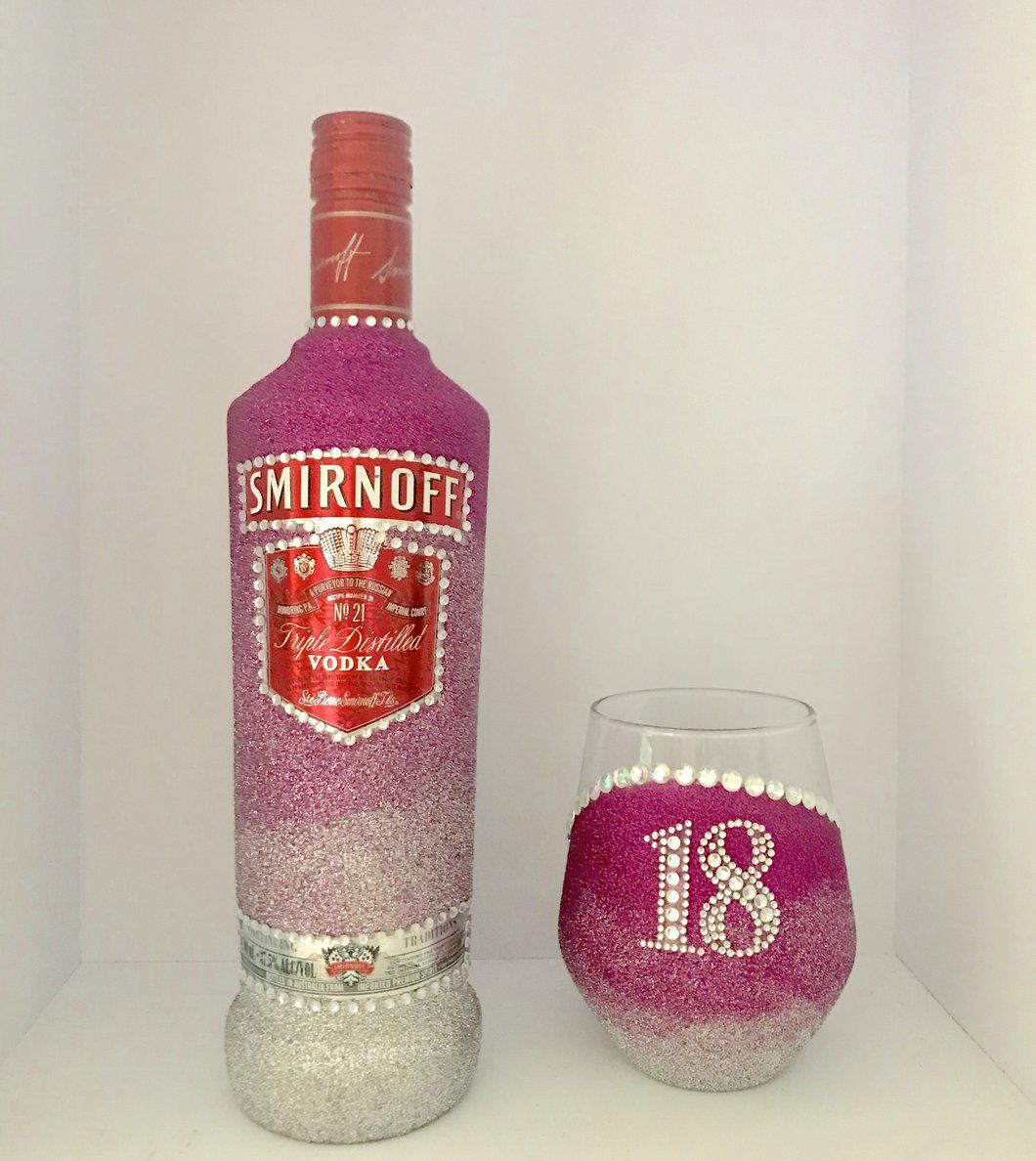 Smirnoff with Stemless glass includes a bling initial or