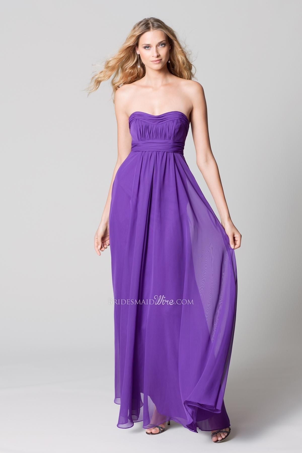 pansy crystal chiffon strapless empire shirred floor-length dress ...