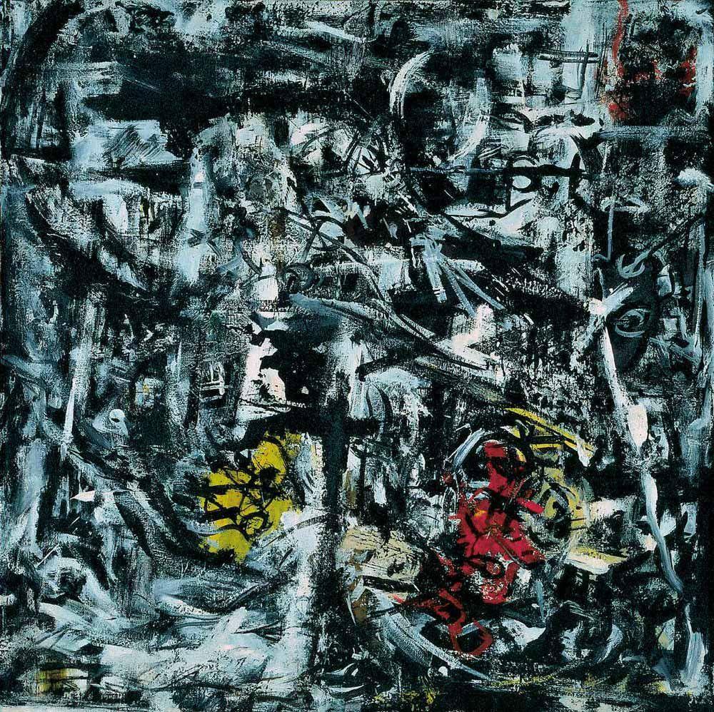 Emilio Vedova - Of Time . 2 1959 Oil Canvas 119.7 X 120 Cm Art