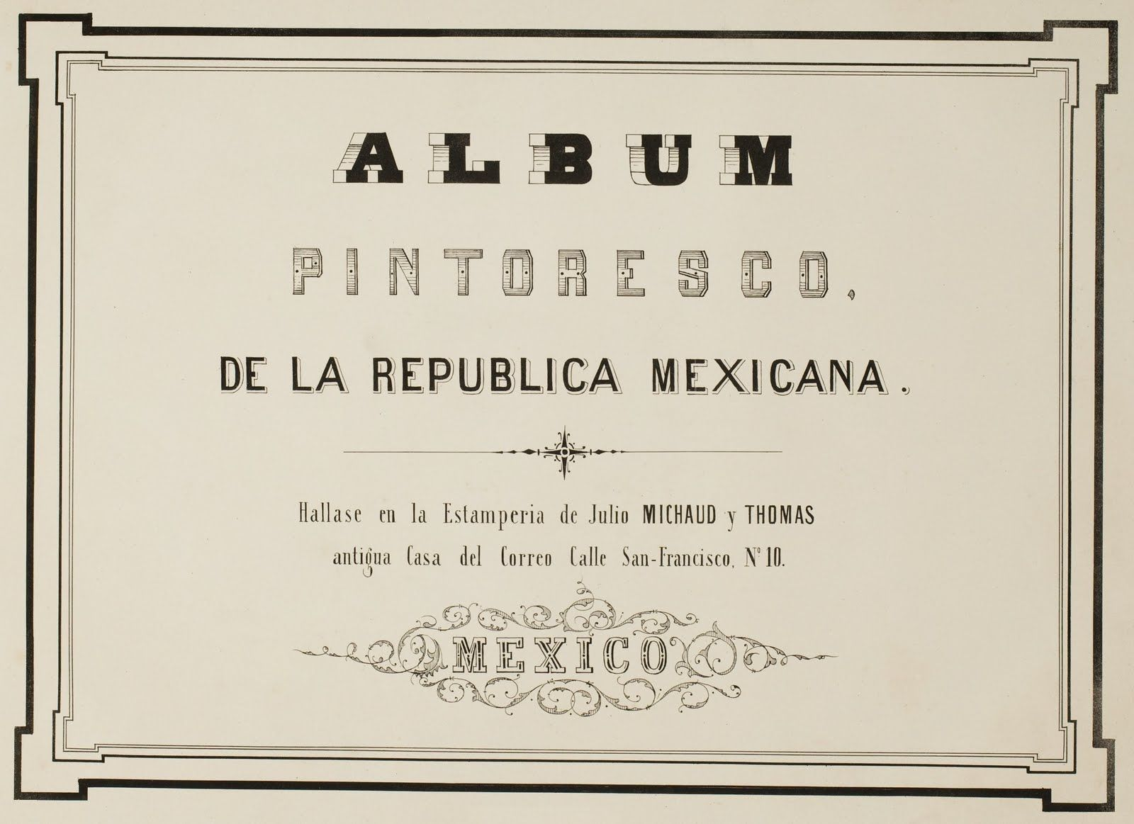 Title Page From Mexican Album Of Lithographs   Texas History