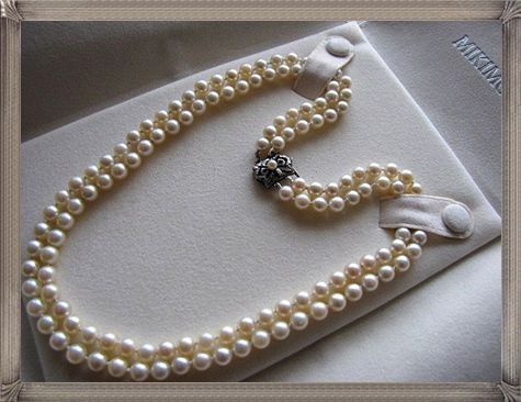 2b14d6234af63 Vintage Double Strand MIKIMOTO Cultured Pearl Necklace | Pharaonic ...