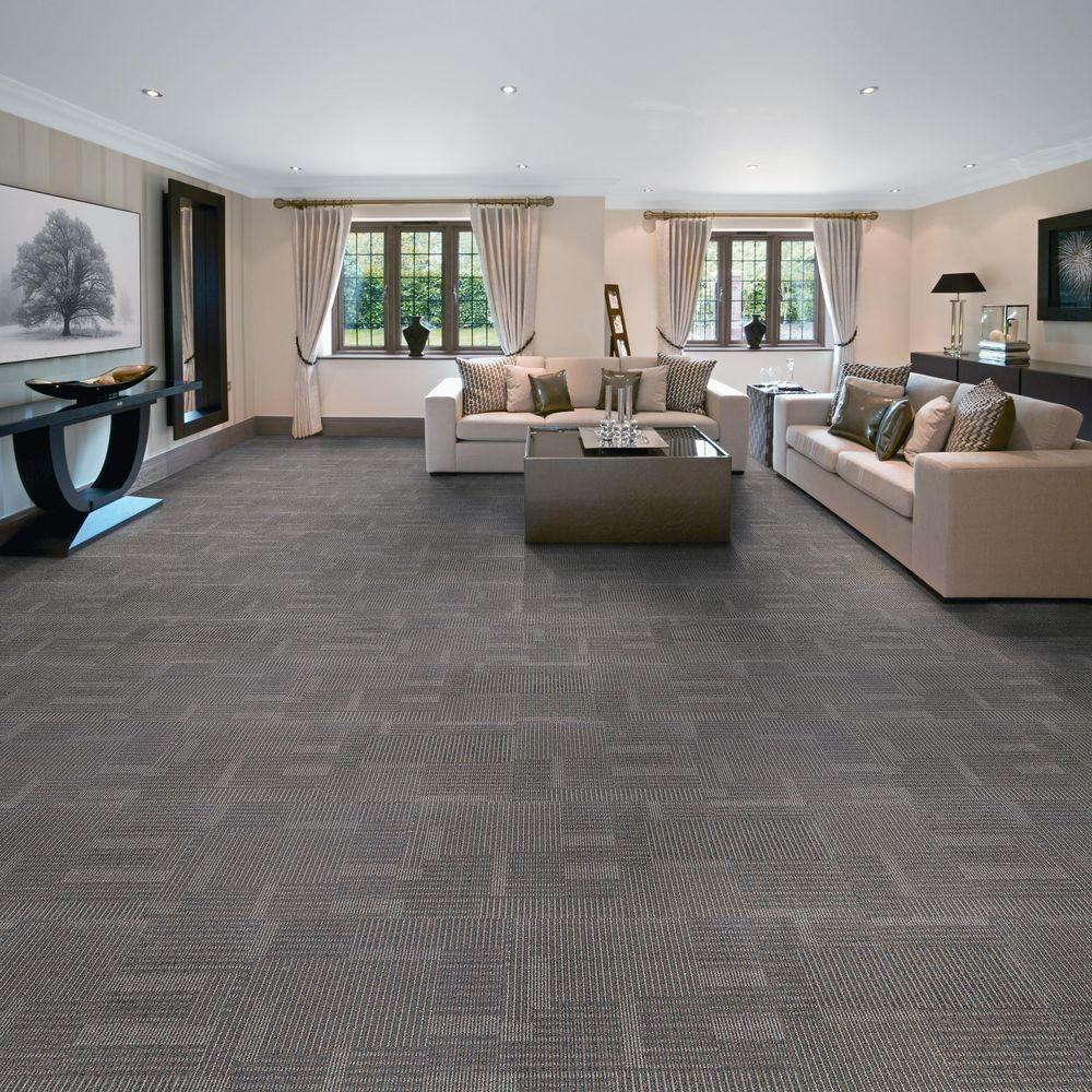 EuroTile Park Avenue Steel Loop 197 In X Carpet Tile 20 Piece Case