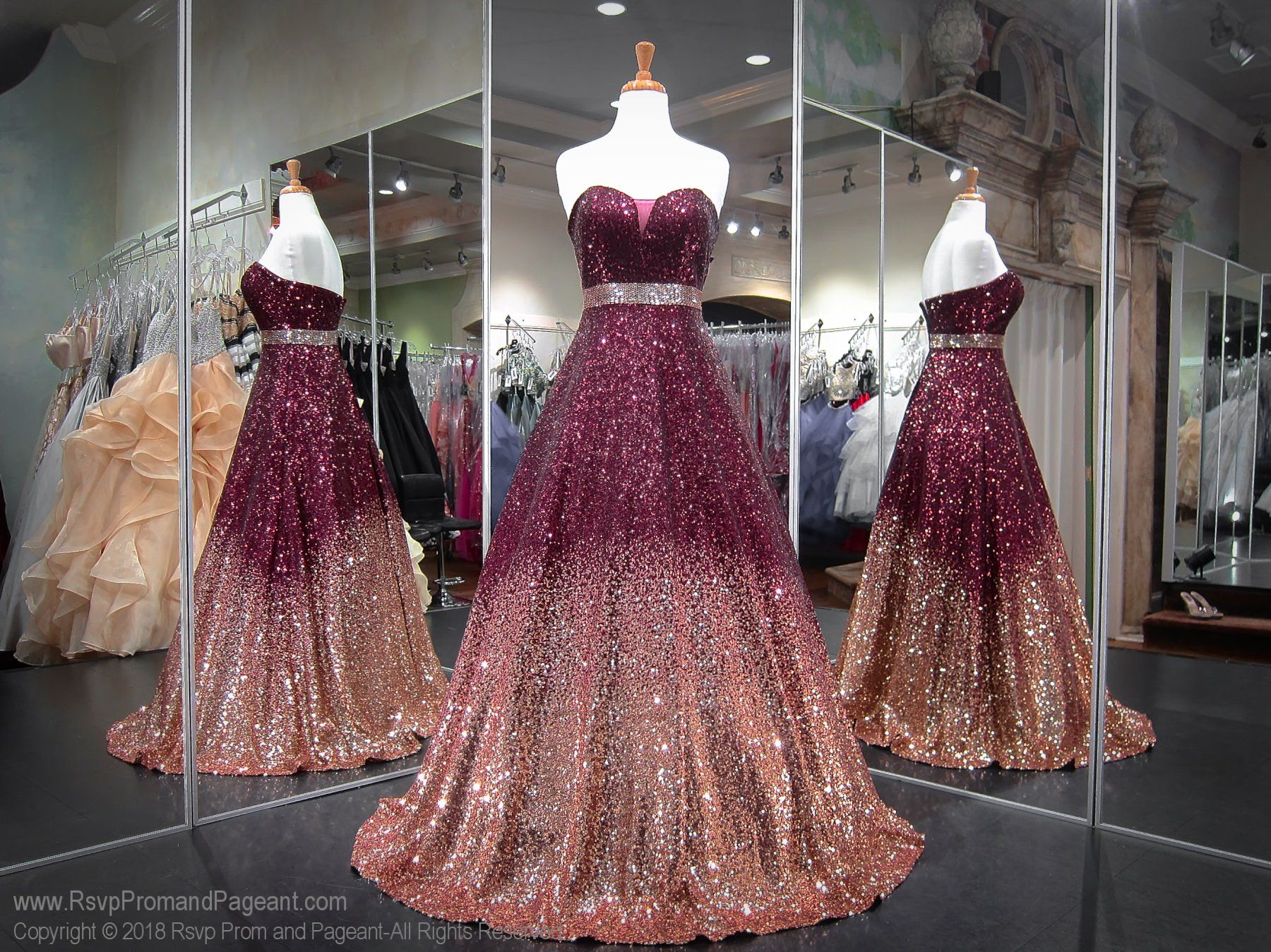 a47460f1641 Burgundy Rose Gold Ombre Sweetheart Neckline Ball Gown Prom Dress ...