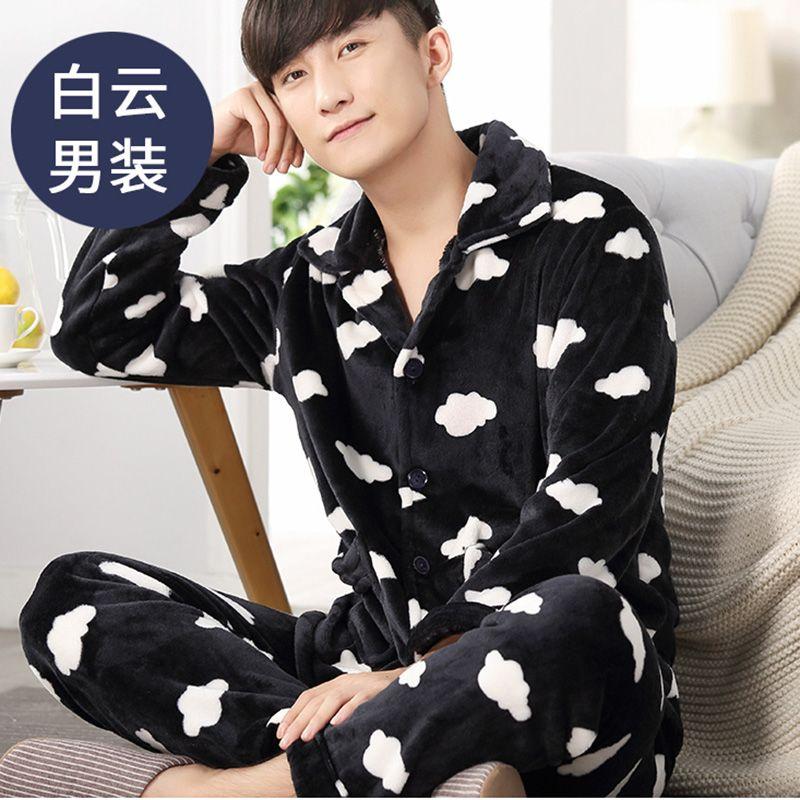 Warm Men Flannel Pajamas Set Coral Fleece Man Plus Size Sleepwear ...