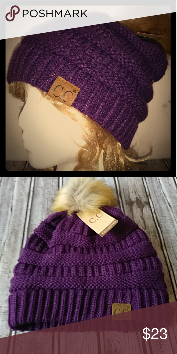 e8d31d663dd C.C Exclusives Beanie Knit Hat With Fur Pom Pom NWT One Size Color Dark  Purple 100% Acrylic C.C Exclusives Accessories Hats