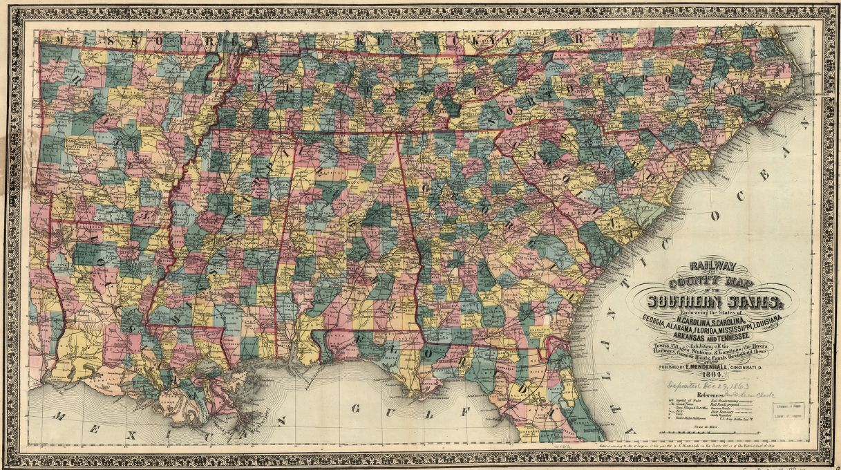 Alabama Florida Map.Railway And County Map Of The Southern States Embracing The States