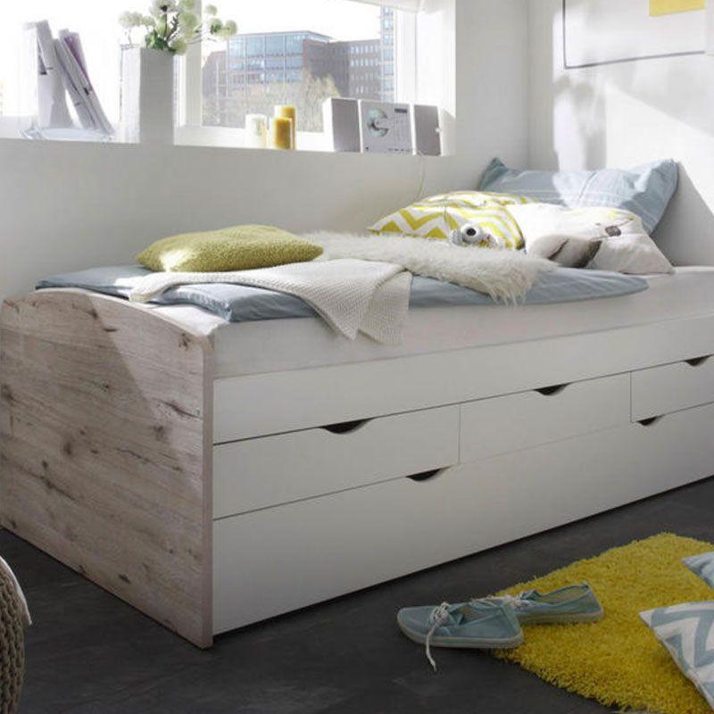 Einzelbett Kinderbett Schubladen Holzfupteil Und Kopfteil Weiss