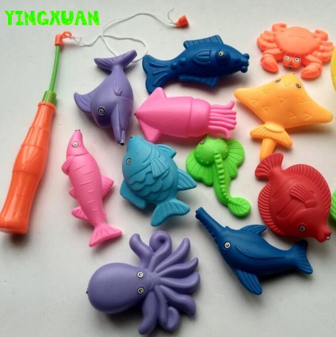 14 개 세트 자석 낚시 장난감 게임 아이 1 1 그물 12 3D 물고기 아기 목욕 장난감 야외 재미