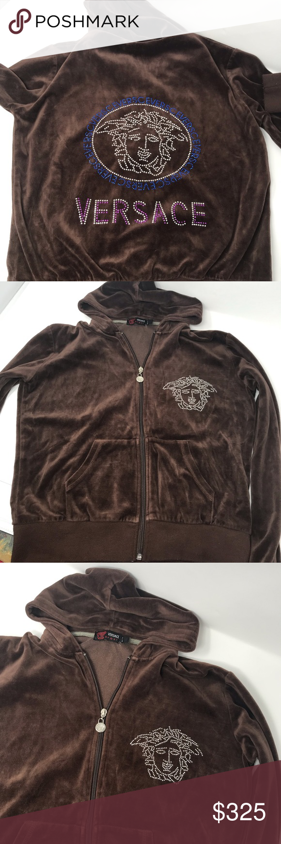 high quality presenting arriving Versace velour Brown sweatsuit 2 pc Medusa bling in 2019 ...