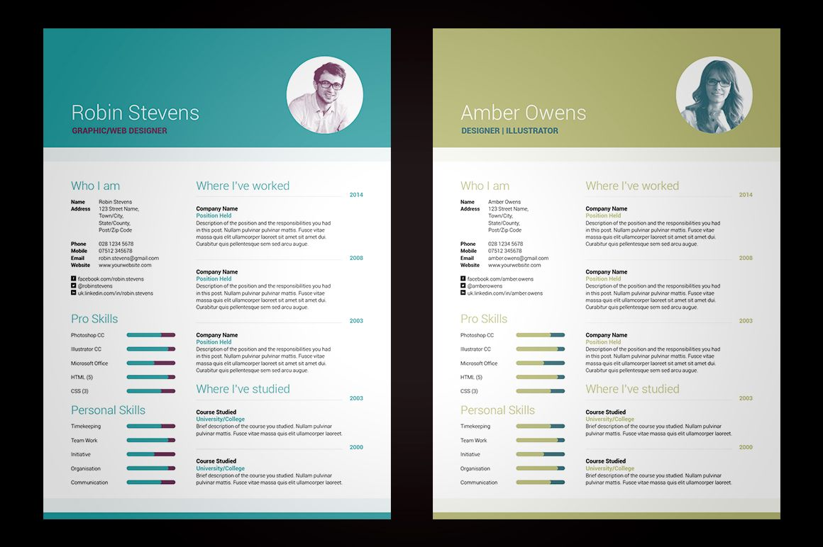 My Resume V2 International A4 & US Letter Sizes Included Simple Yet High Impact Single Page
