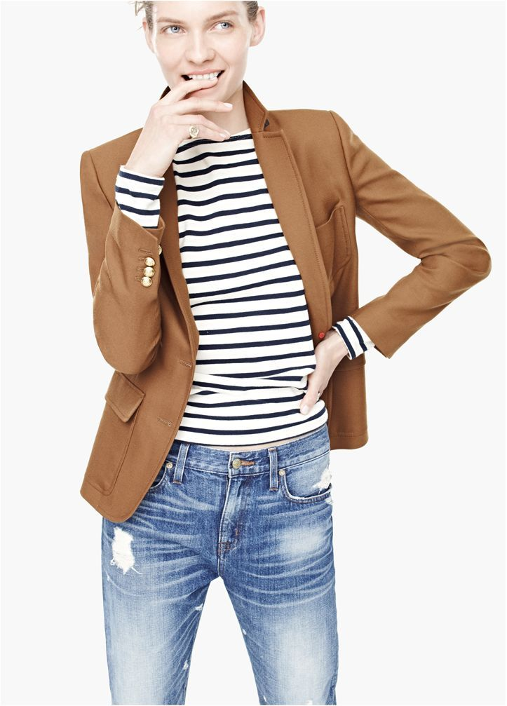 Camel blazer, navy and white striped long sleeve tee and distressed denim    classic 72e51e5332
