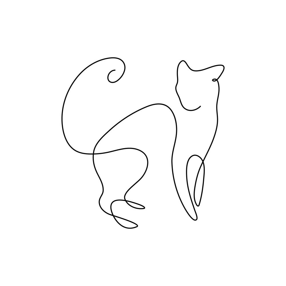 One Line Design Silhouette Wild Cat Cat Silhouette Tattoos Line Art Design Geometric Cat