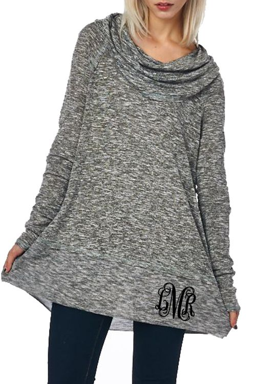Monogrammed Cowl Neck Long Sleeve Top | Cowl neck, Monograms and Gift