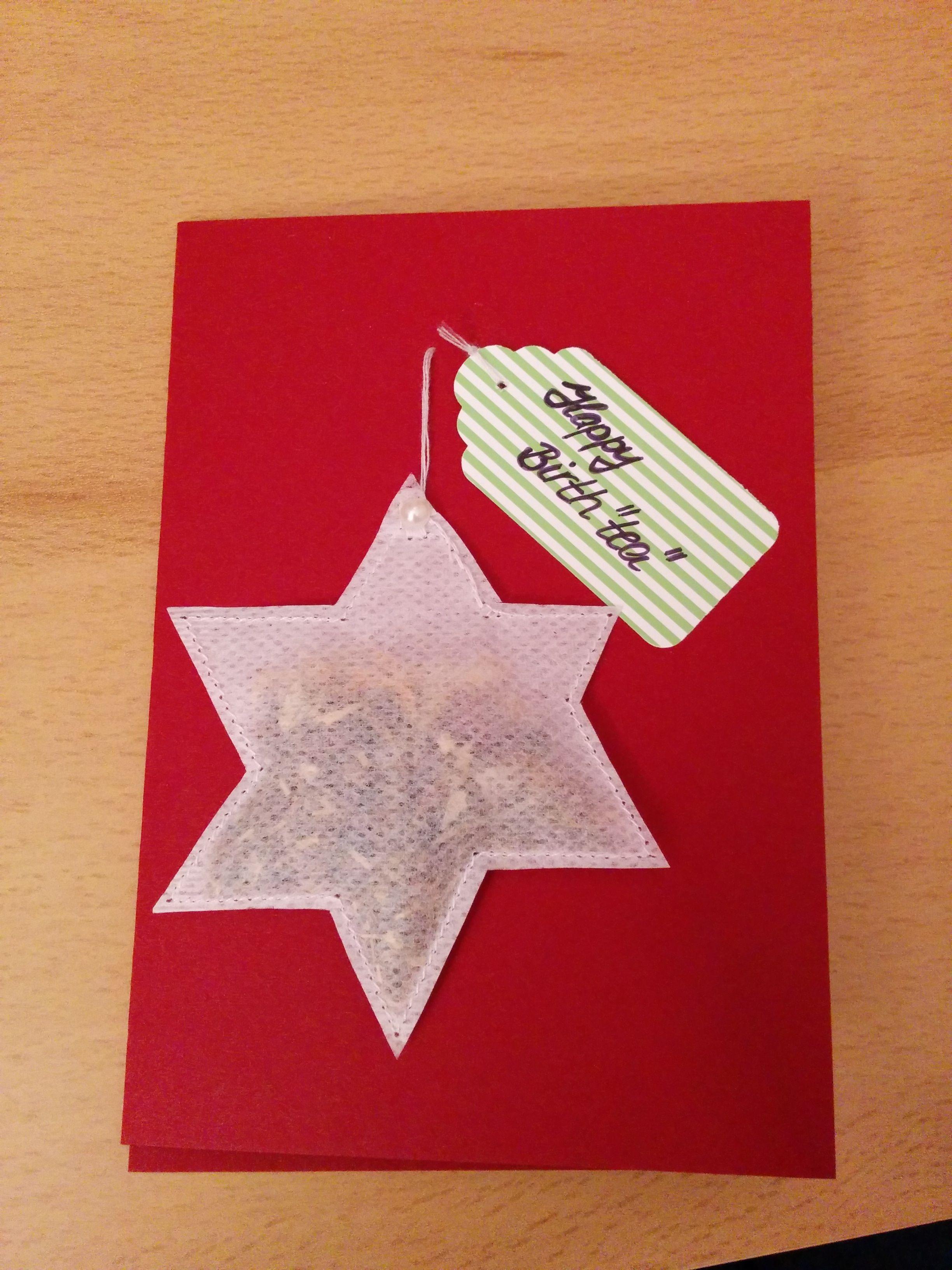 Glückwunschkarte mit diy teebeutel in sternform happy birth tea