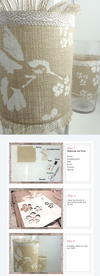 Burlap Vase Wrap Diy D I Y Craft Ideas Pinterest Burlap