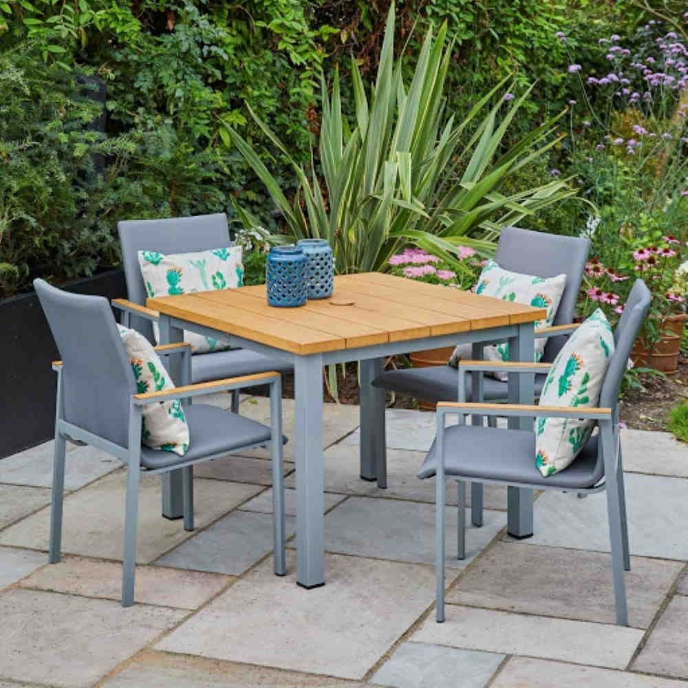 Siena 4 Seater Dining Set With Stacking Chairs In 2020 Contemporary Garden Dining Set Outdoor Furniture Sets