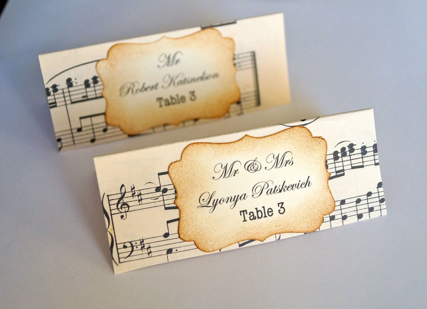 printable wedding place cards vintage%0A Beautiful Hand Crafted Music Themed Wedding Escort Cards Vintage or Shabby  Chic Style x
