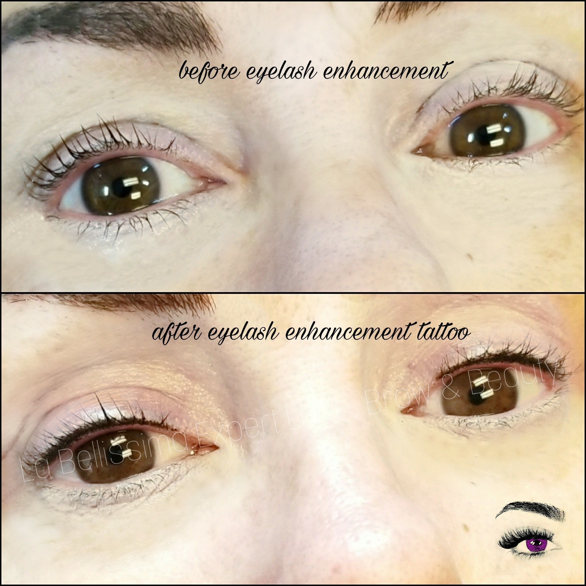 Before After Eyelash Enhancement Tattoo To Give A Fuller Looking Lashline Want Take Advantage Of Eyelash Enhancer Permanent Eyeliner Permanent Makeup