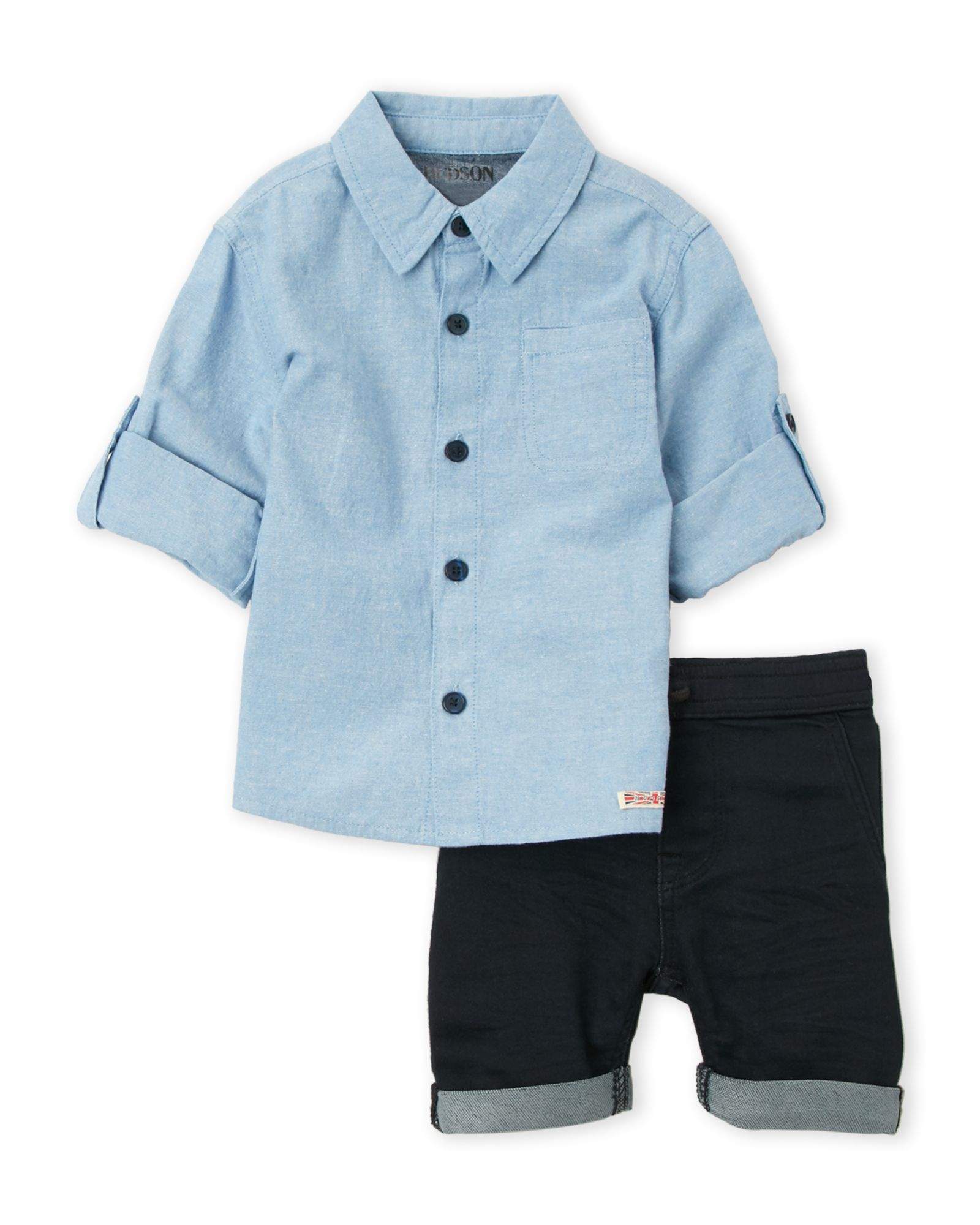Toddler Boys) Two-Piece Chambray Shirt   Navy Cuffed Shorts Set ... c6d45e5fa0d