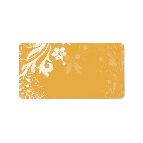 saffron yellow floral wedding blank address label vintage wedding