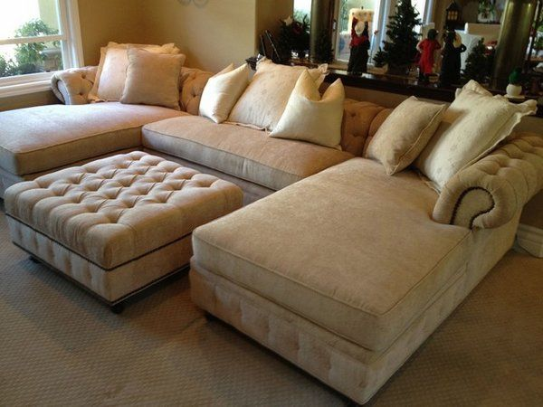 Merveilleux Small Living Room Furniture Oversized Sectional Sofa Beige Color Ottoman |  Entertainment Room | Pinterest | Oversized Sectional Sofa, Small Living Room  ...