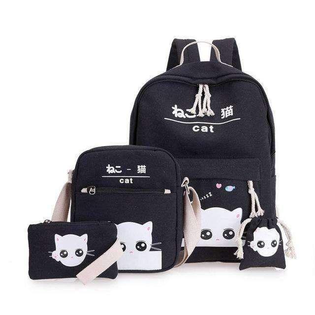 9d42400e68 VZ black cat backpacks for girl lovely school backpacks for teenage girls  printing backpack set mint green school bags WM111YL