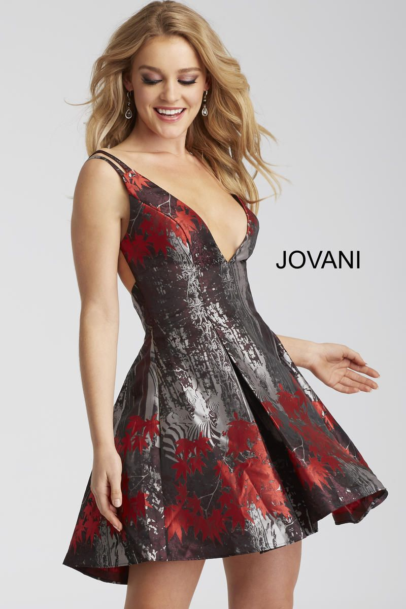 6b212f135f Style 51178 from Jovani is a mixed floral print fit and flare short  homecoming dress with a deep V neck and spaghetti straps.