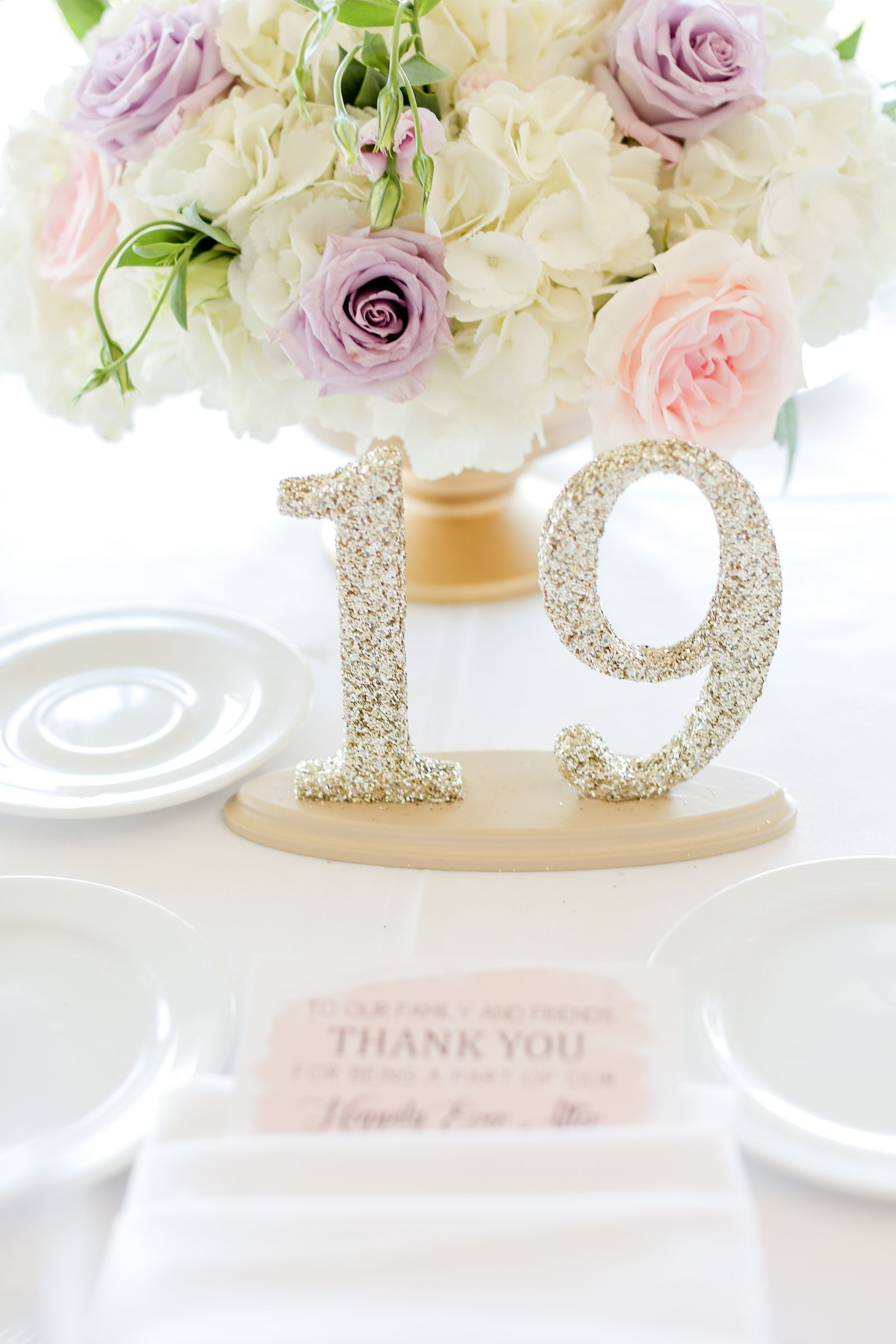 Glitter Table Number Centerpieces For Wedding Reception Decor