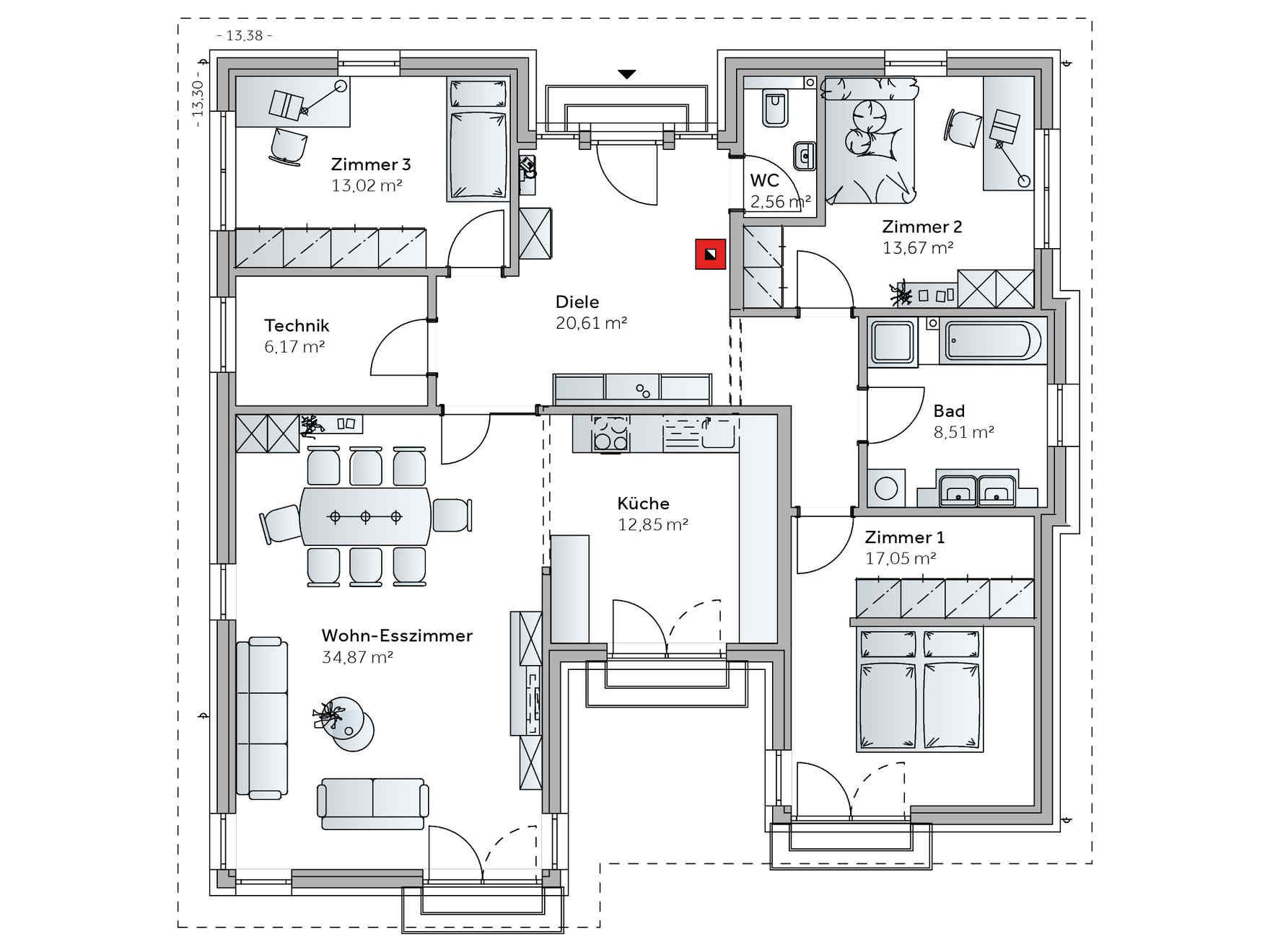 Fertighaus Bungalow AT129 | Haus | Pinterest | Fertighaus bungalow ...